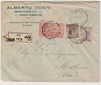 STORIA POSTALE - 1922 REGNO RACC/EX 3 VALORI SU LETTERA ROMA 11/11 E/1239