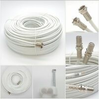 10m White Twin Satellite Shotgun Extension Coax Cable Lead 4 Sky Plus HD Freesat