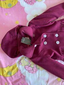 Terranova Girls' Cappotto Coat (Magenta) (Age 6-7, Height 116/122)