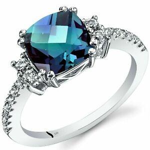 2.50 Ct  Cushion Cut Alexandrite & Diamond Engagement Ring In White Gold Finish