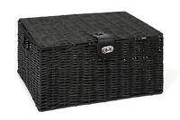 Hamper Storage Basket Black Large Resin Woven Box With Lid & Lock