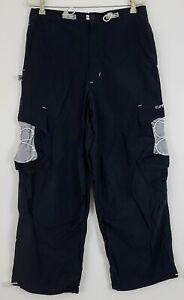 Caffeine Rare Vintage 90's Rave Skater Cargo Pants Wide Leg Baggy Blue Medium