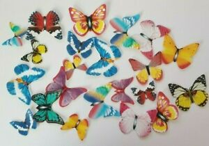 21 Mixed Size Butterfly Sets Edible Rice Paper Cake Topper Decoration PRECUT