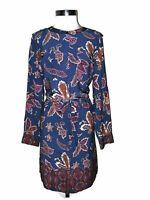 LIZ CLAIBORNE Size XL A-Line Dress Blue Red Orange White Paisley 3/4th Sleeve