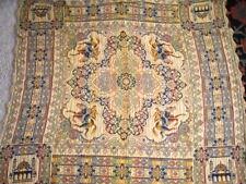 Antique Vtg Woven Bohemian Boho Table Cover Tablecloth Brocade 46x41