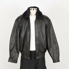 Mens Leather Jacket Size L Large Insulated Removable Faux Fur  Collar