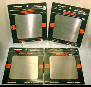 """Range Kleen 4 Stainless Steel 7"""" x 7"""" Square Non-Skid Back Hot Pads"""