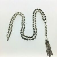 """Vintage Silver Rope Chain Necklace With Ten Tailed Box Link Tassel 1981 20 1/4"""""""