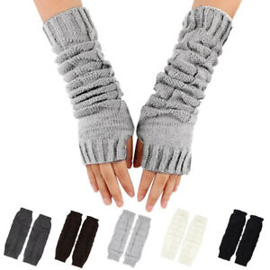 Fashion Winter Warm Cable Knit Arm Warmers Thumb Hole Fingerless Golves Mittens