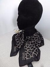 BNWT DKNY Black Petite Giraffe Print 100% Silk Small Scarf