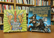 Two Book Set 1000 Biker Tattoos & Motorcycle Graphics Outsider Art Style Design