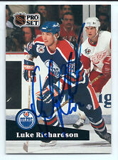 Luke Richardson signed 1991-92 Pro Set card Edmonton Oilers autograph #387