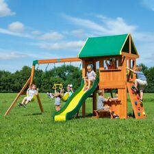 Backyard Swing Set Cedar Wooden Slide Sand Box Outdoor Playground Playset Kids