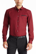 Hugo Boss Edell 10107897 50289671 Modern Slim Dark Red Dress Shirt MSRP $185