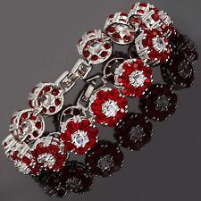 Rhinestone Round Cut Flower Red Ruby Tennis Statement Fashion Bracelet