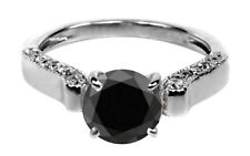 1.65 Carat Solid 14KT Real White Gold Solitaire Natural Black Diamond Ring