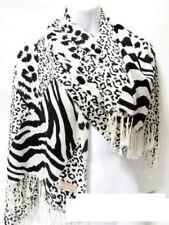 Animal Print Zebra Striped Leopard Spots Brown Green Blue Pashmina Scarf Shawl