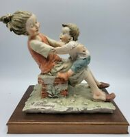 Giuseppe Armani Capodimonte Figurine Sister Holding Little Brother Kids