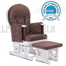 WHITE WOOD - BROWN SUPREMO BAMBINO Nursing Glider Rocking Maternity Chair Stool