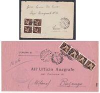 1945-46 LUOGOTENENZA 2 lettere con blocchi di 4 del 50c bruno di posta aerea