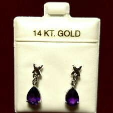 Natural Amethyst with Diamond 14k White Gold Dangle Earring