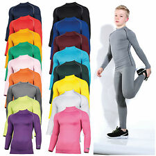 Childrens Base Layer Long Sleeve Compression Top Thermal Sports Boys Girls Kids