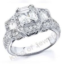 2.36Ct Asscher Cut,Trapezoid & Round Diamond Halo Engagement Ring GIA H,VVS1 14K