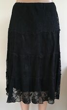 M&S Black Floral Lace Party Skirt Size 12