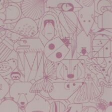 Designtex Beguiled By The Wild lt. purple Funky Animals Vinyl Upholstery Fabric