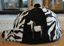 BLACK & WHITE ZEBRA COLOURED HORSE SKULL CAP RIDING HAT HELMET COVER WITH POMPOM