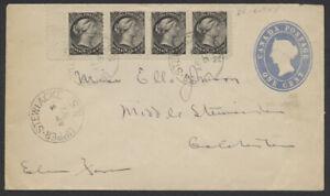 1897 Strip of 4 #34 1/2c SQ On 1c PSE #EN6, Minor Re-Entries, Upper Stewiacke NS