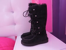 UGG 1007701 APPALACHIN LACE UP BOOTS WATER RESISTANT BLACK SUEDE -US 5 NIB