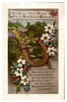 Antique RPPC postcard Birthday card Sister flowers horseshoe & poem