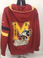 Disney Mickey Mouse Jacket Hoodie Large Red Zip Varsity Letterman University