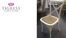 """NEW """"Noosa"""" Oak White French Bistro Style Timber Cross Back Dining Chair Seat"""