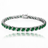 Simulated Emerald Tennis Bracelet with White Topaz Accents in Sterling Silver