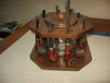 Vintage Wood Tobacco Smoking Pipe Stand With Humidor & Briar Pipes