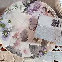Set 4 222 Fifth Patio Rose Appetizer/Dessert/Canape Plates Lilac 3 Sets Avail