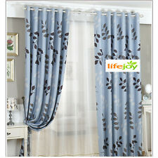 2 x Blockout Eyelet Curtains Country Style Leaves Light Blue 300cm x 230cm -Pair