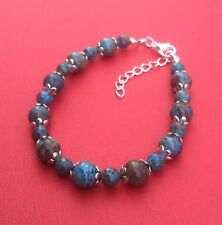 Blue Crazy Lace Agate Gemstone Handmade Bead Women's Bracelet - Aussie Seller!