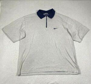 Nike 1/4 Zip Polo Shirt Mens XL White Short Sleeve Collared