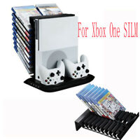 For Xbox one s Stand Cooling Fan with Games Storage Charging Station&4 USB ports