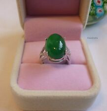 Certifed 12CT  green jade/Chalcedony in solid silver Ring adjustable size