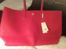 NWT TORY BURCH CAMERON TOTE LARGE TRAVEL BAG COATED CANVAS CARNATION RED