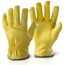 10 Pairs x Fleece Lined Leather Lorry Drivers Work Gloves Safety Quality Size XL