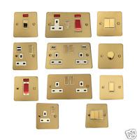 Polished Brass 1.5mm Flat Plate Light Switch Socket USB Data Phone Shaver Neon