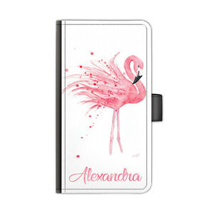 Personalised Name Phone Case, Flamingo PU Leather Flip Cover For Apple Iphone