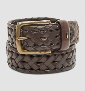 $155 Tommy Hilfiger Men's Brown Braided Faux Leather Buckle Belt US Size M 34-36