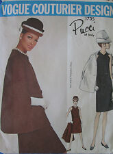 VINTAGE anni'60 VOGUE Couturier 1735 PUCCI-Dress & CAPPOTTO/mantello Sewing Pattern