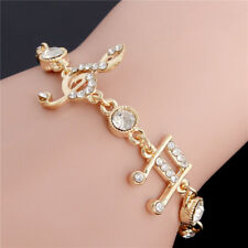 Hot Fashion Woman Musical Note Cuff Bangle Gold Plated Rhinestone Bracelet Chain